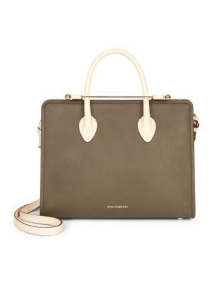 STRATHBERRY Midi Bicolor Leather Tote - Green in Forest/ Sand