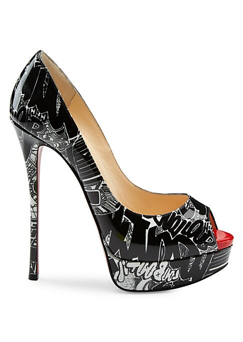 "Image of Graffiti-like graphics adorn sky high patent pumps. Patent leather upper. Peep toe. Leather lining and sole. Made in Italy. SIZE. Self-covered stiletto heel, 5"" (130mm).Patent leather platform, 1"" (25mm).Compares to a 4"" heel."