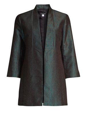 Metallic Jacquard Shawl Collar Jacket, Pine