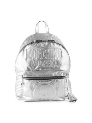 Embossed Teddy Bear Backpack - Metallic, Silver Multi