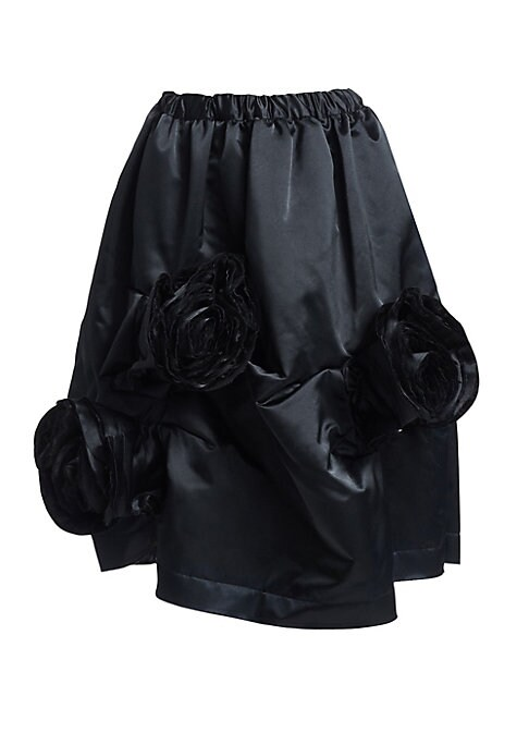 Image of Romantic floral appliques exude subdued gardenia enchantment, while the skirt's satin finish lends a supple touch. Feminine, yet structural, this piece plays with textures in the most understated way. Elasticized waist. Concealed side zip. Floral applique