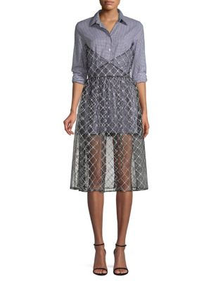 SANDY LIANG Cottons Muse Gingham Tulle Overlay Shirtdress