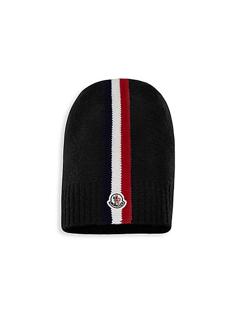 Image of Loose-style wool beanie with flag stripe logo design. Virgin wool. Dry clean. Made in Italy.