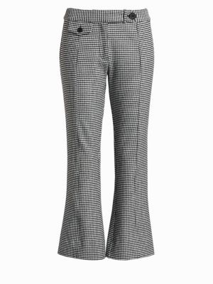 Flannel Plaid Crop Flare Trousers, Black White