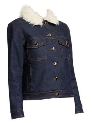 Sherpa Cate Faux Shearling-Trimmed Denim Jacket in Blue