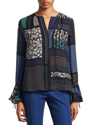 Collarless Bell-Sleeve Printed Silk Blouse, Black