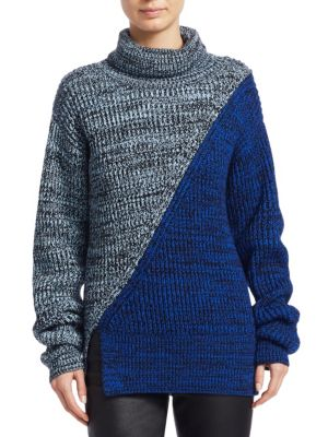 Bi-Color Merino Wool Turtleneck Sweater in Blue from Derek Lam