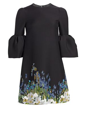 Jewel-Neck 3/4 Bell-Sleeve A-Line Crepe Cocktail Dress W/ Beaded Floral Embroidery, Black-Multi