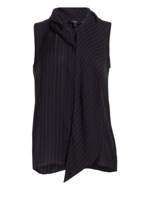 Draped Pinstripe Silk Shell by Theory