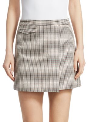 Theory Wool Blend Plaid Mini Wrap Skirt