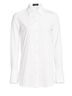 Longline Tuxedo Shirt by Theory