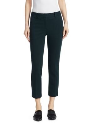 Trecca 2K Textured-Knit Skinny-Leg Cropped Pants, Green Poplar Pop Navy
