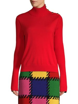 ESCADA SPORT Rib-Knit Turtleneck Sweater in Red