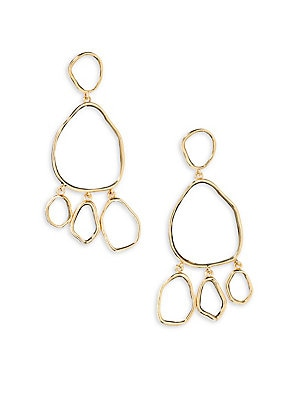 Image of From The Ciottolo Collection. Sculptural chandelier earrings with mirrored centers. 18K yellow gold-plated brass Length, about 3.25 Clip-on back Made in France. Fashion Jewelry - Modern Jewelry Designers > Saks Fifth Avenue. Aurélie Bidermann. Color: Yell