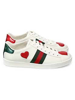 8d3f440e0aa25 Gucci. New Ace Heart Leather Sneakers