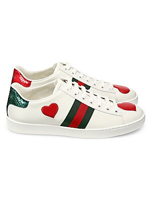 9c4a5a156b7 Gucci - New Ace Heart Leather Sneakers - saks.com