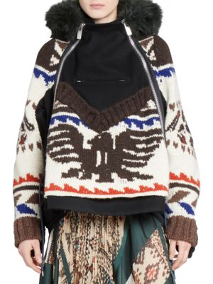 Knit Hooded Jacket in Multicolour