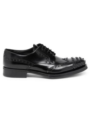 Spiked Front Leather Wingtip Oxford Shoes by Prada