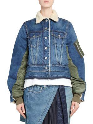 Button-Front Nylon-Back Faux-Shearling Lined Denim Jacket, Light Blue
