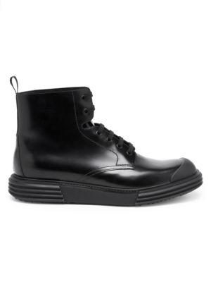 Platform Trek Leather Combat Boots by Prada