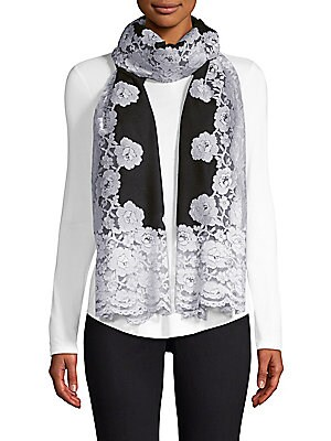 """Image of Floral lace adorns this luxe cashmere and silk scarf. Cashmere/silk Dry clean Imported SIZE 28""""W x 80""""H. Soft Accessorie - Scarves. Bindya. Color: Black Multi."""