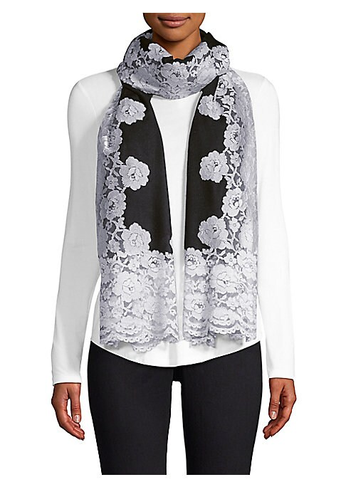 """Image of Floral lace adorns this luxe cashmere and silk scarf. Cashmere/silk. Dry clean. Imported. SIZE.28""""W x 80""""H."""