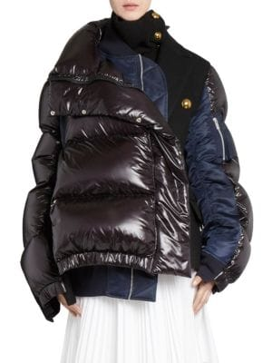 Oversized Wool-Paneled Quilted Shell Down Coat in Black