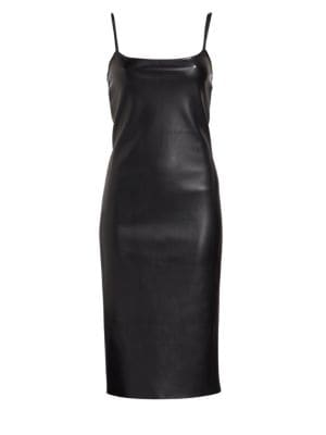 Sleeveless Bedford Faux-Leather Skinny Slip Dress, Black