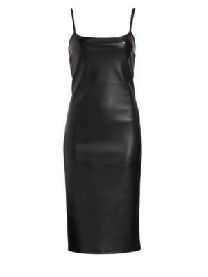 Sleeveless Bedford Faux-Leather Skinny Slip Dress, Black from REVOLVE
