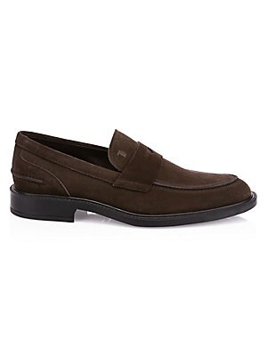 Image of Sleek suede loafers are an on-trend footwear essential. Suede upper Almond toe Slip-on style Leather lining Rubber sole Made in Italy. Men's Shoes - Tods Mens Footwear. Tod's. Color: Dark Brown. Size: 8.5 UK (9.5 US).