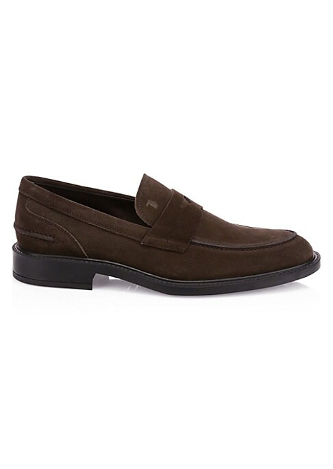 Image of Sleek suede loafers are an on-trend footwear essential. Suede upper. Almond toe. Slip-on style. Leather lining. Rubber sole. Made in Italy.