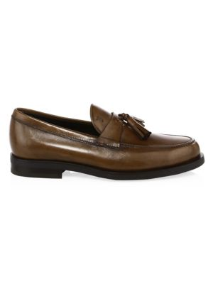 TOD'S Moccasino Leather Tassel Loafers, Cocoa