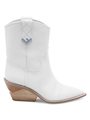 Image of From the Saks IT LIST THE COWBOY BOOT Pair this versatile must-have with flowing skirts, jeans and more. Pebbled leather cowboy boots with modern stacked heel. Leather upper Pull-on style Side pull tabs Point toe Leather lining and sole Made in Italy SIZE