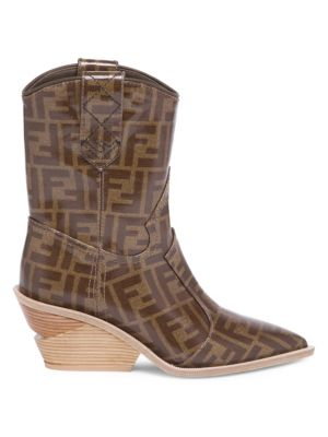 Heeled Logo Leather Cowboy Boots by Fendi