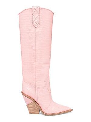 d275cca91c914 Fendi - Stamped Croc Leather Knee-High Cowboy Boots - saks.com