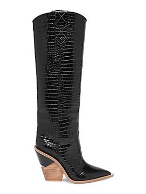 315f2d662d2 Fendi - Stamped Croc Leather Knee-High Cowboy Boots