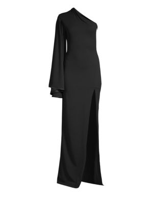 SOLACE LONDON Lani One-Sleeve Stretch-Crepe Gown in Black