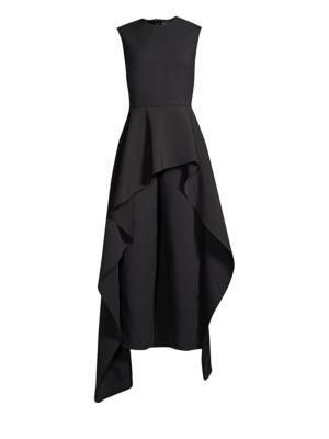 Soraya Asymmetric Ruffled Crepe Jumpsuit, Black