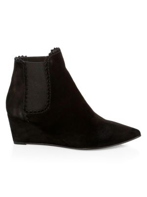 Ona Pinking Wedge Booties in Black