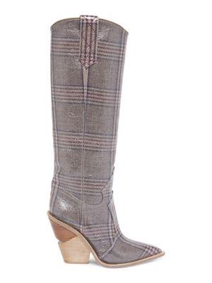 7c0c9420696 Shoptagr   Plaid Leather Tall Boots by Fendi