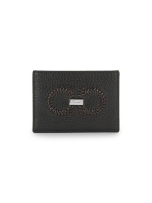 Salvatore Ferragamo Firenze Logo Intreccio Leather Card Case