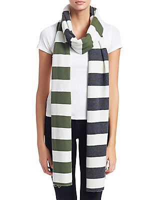 """Image of Stripes elevate classic cashmere scarf 13.8""""W x 108.6""""L Cashmere Dry clean Imported. Soft Accessorie - Day And Evening Wraps. Charlotte Simone. Color: Cream."""