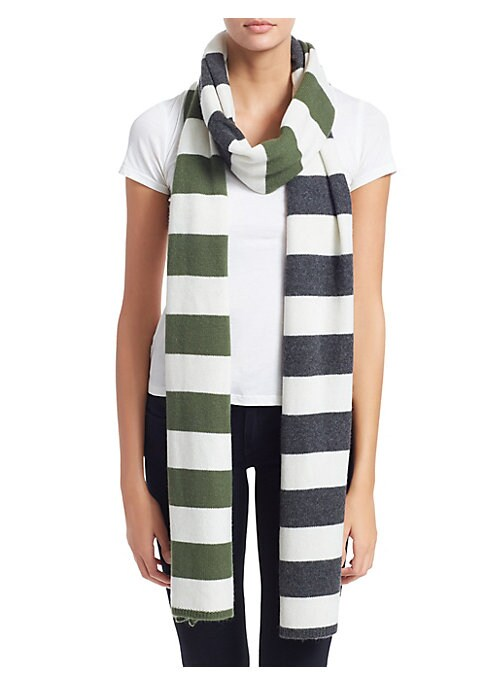 """Image of Stripes elevate classic cashmere scarf.13.8""""W x 108.6""""L.Cashmere. Dry clean. Imported."""