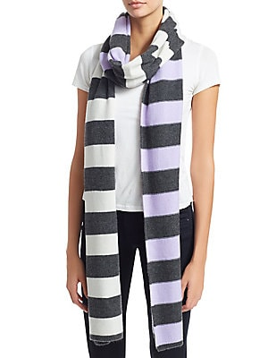 """Image of Stripe scarf elevates cashmere scarf 13.8""""W x 108.6""""L Cashmere Dry clean Imported. Soft Accessorie - Day And Evening Wraps. Charlotte Simone. Color: Lilac Cream."""