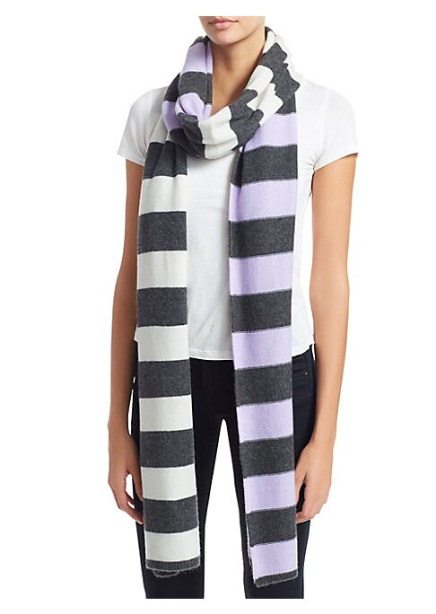 """Image of Stripe scarf elevates cashmere scarf.13.8""""W x 108.6""""L.Cashmere. Dry clean. Imported."""