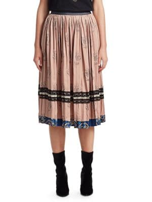 COACH 1941 Tulip Print Pleated Skirt in Pink