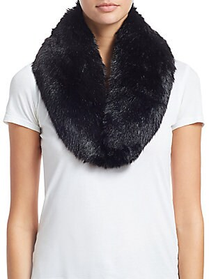 """Image of Luscious collar adds sophistication to any ensemble Front hook and eye closure Polyester lining 3.5""""W x 32.5""""L Modacrylic/acrylic Fur type: Faux Dry clean Imported. Soft Accessorie - Day And Evening Wraps. Charlotte Simone. Color: Black."""