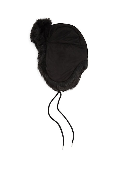 """Image of Faux fur trim adds elegance to trapper hat. Diameter, 22.4"""".Polyester lining. Modacrylic/acrylic/polyester. Fur type: Faux fur. Dry clean. Imported."""