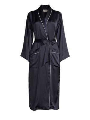 Maison Du Soir Olivia Piped Silk Robe