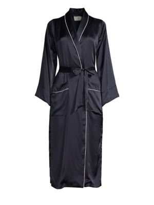 Olivia Piped Silk Robe by Maison Du Soir